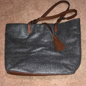 Reusable Gray and Brown Braided Strap Tote Bag